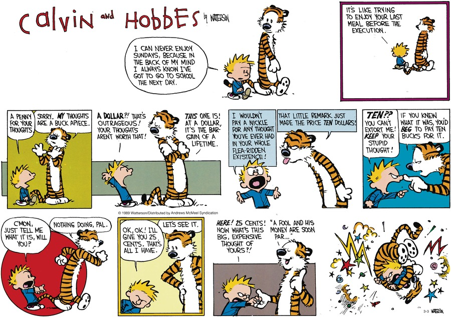 Calvin and Hobbes by Bill Watterson for March 03, 2019