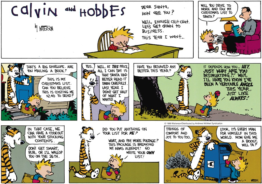 Calvin and Hobbes Comic Strip for December 01, 2019