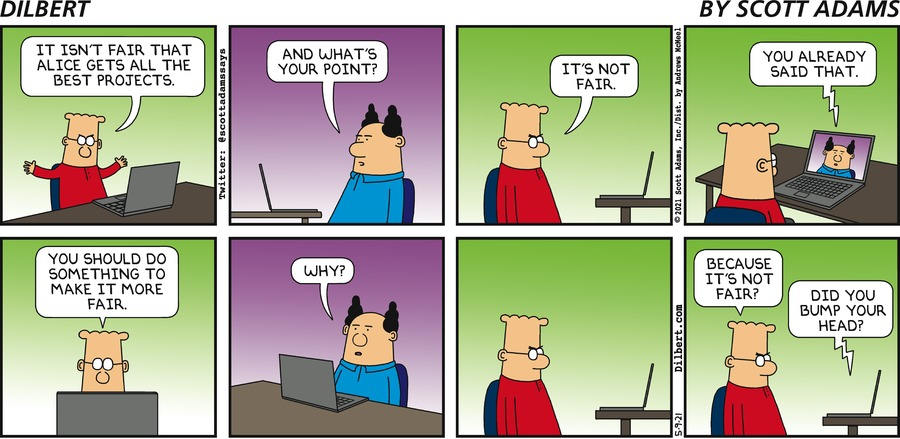 Boss Isn't Fair - Dilbert by Scott Adams