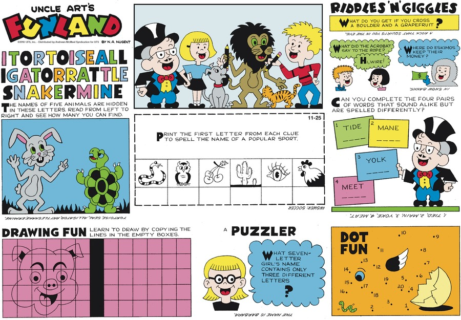 Uncle Art's Funland Comic Strip for November 25, 2018