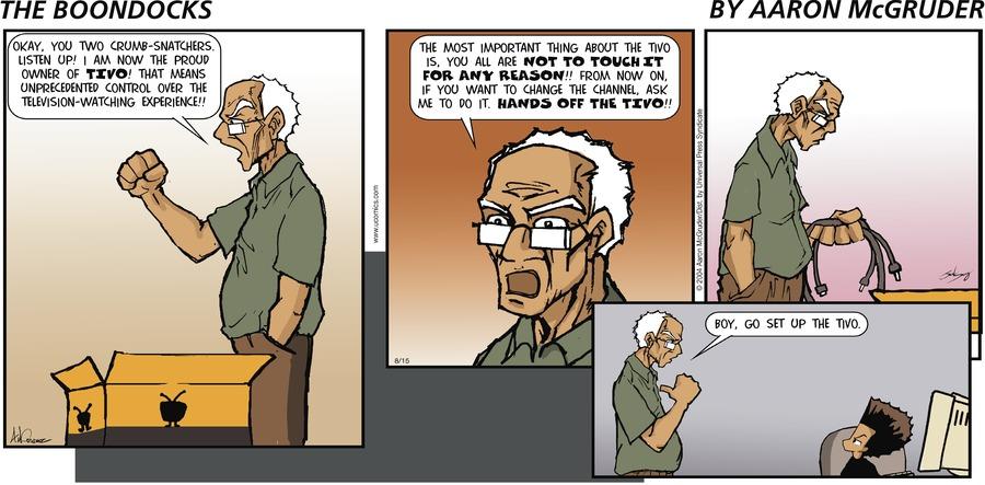 The Boondocks for Aug 15, 2004 Comic Strip