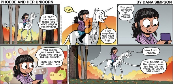 Phoebe and Her Unicorn - Sunday October 23, 2016 Comic Strip