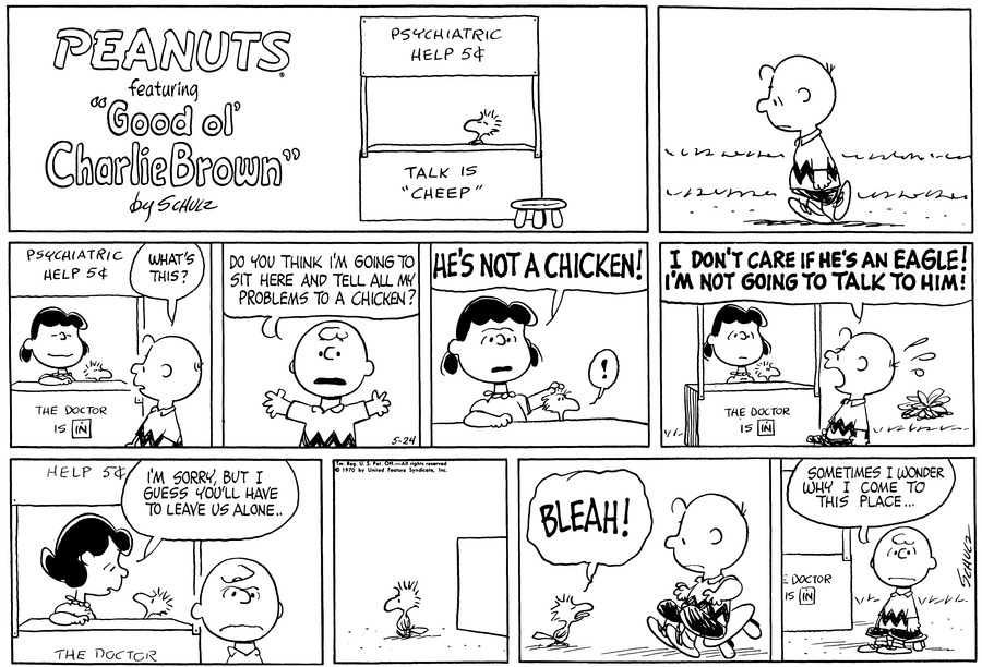 Peanuts for May 24, 1970 Comic Strip