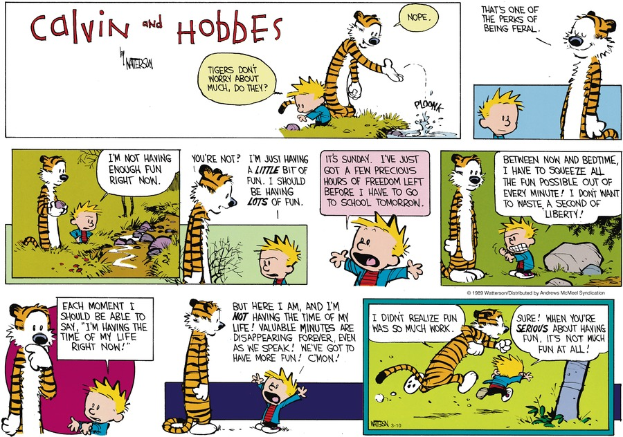 Calvin and Hobbes by Bill Watterson for March 10, 2019