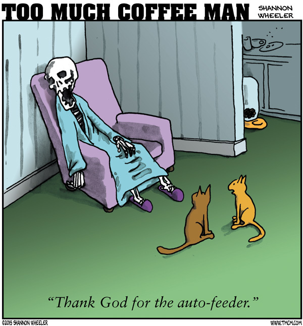 Too Much Coffee Man Comic Strip for April 12, 2015