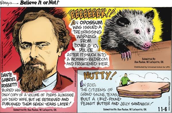Ripley's Believe It or Not on Sunday November 6, 2016 Comic Strip