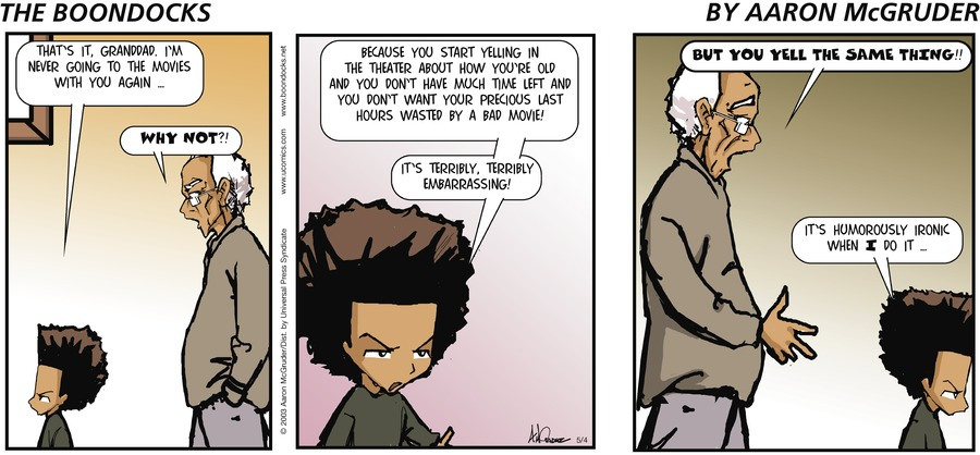 The Boondocks Comic Strip for May 04, 2003