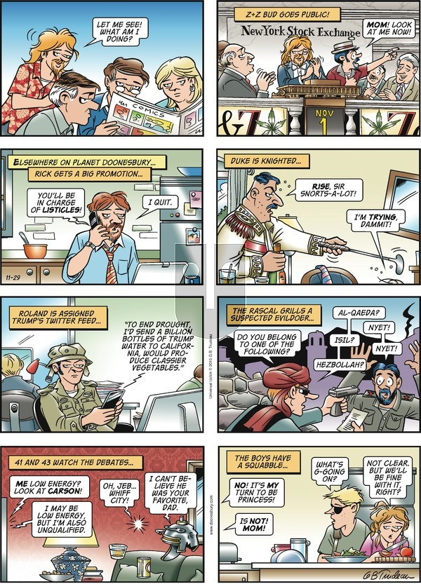 Doonesbury on Sunday November 29, 2015 Comic Strip