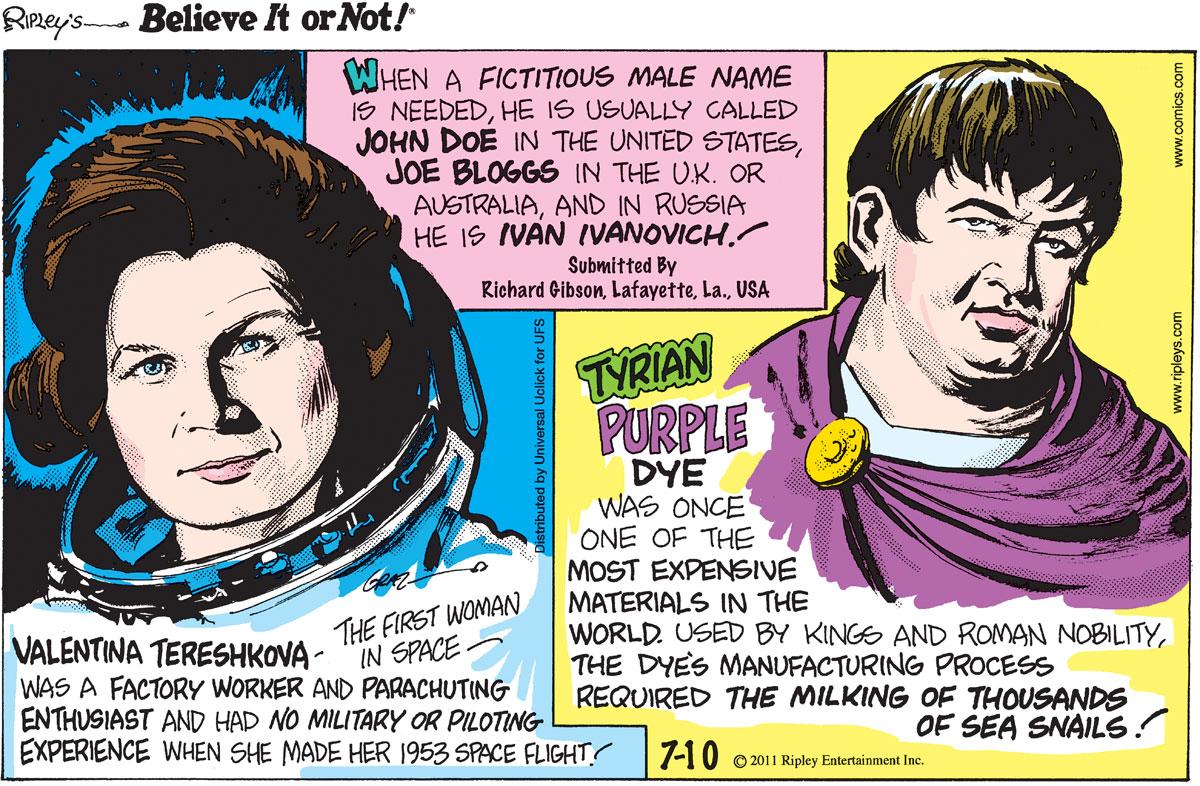 Ripley's Believe It or Not for Jul 10, 2011 Comic Strip