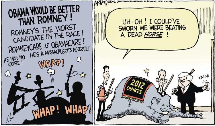 Obama would be better than Romney! Romney's the worst candidate in the race! Romneycare is Obamacare!