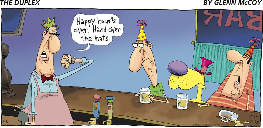 Man: Happy hour's over. Hand over the hats.