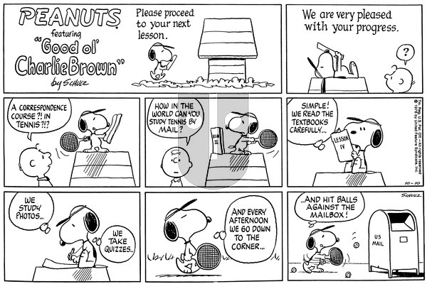 Peanuts on Sunday October 10, 1976 Comic Strip