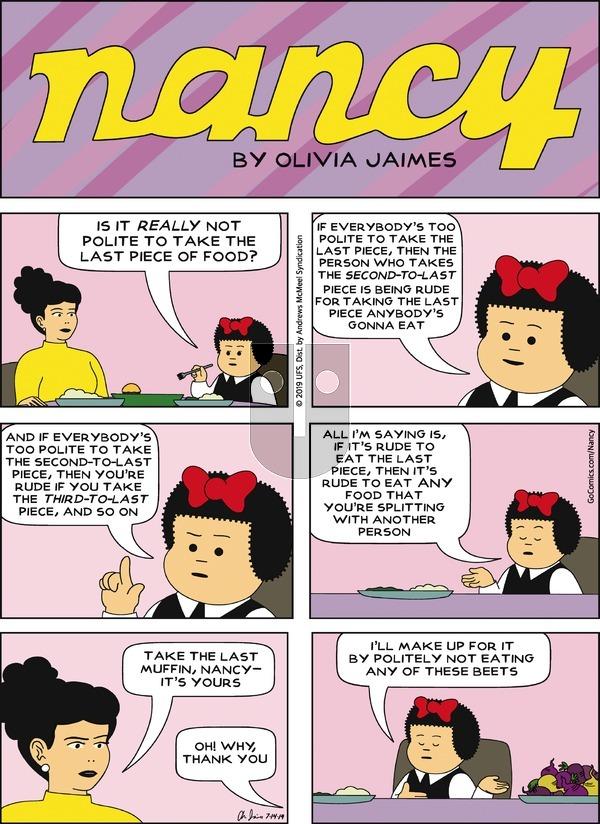 Nancy - Sunday July 14, 2019 Comic Strip