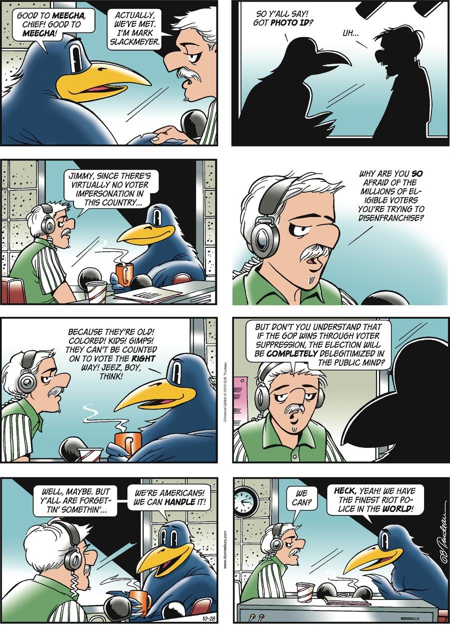 Doonesbury Comic Strip for October 28, 2012
