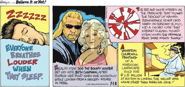 Ripley's Believe It or Not on Sunday July 18, 2021 Comic Strip
