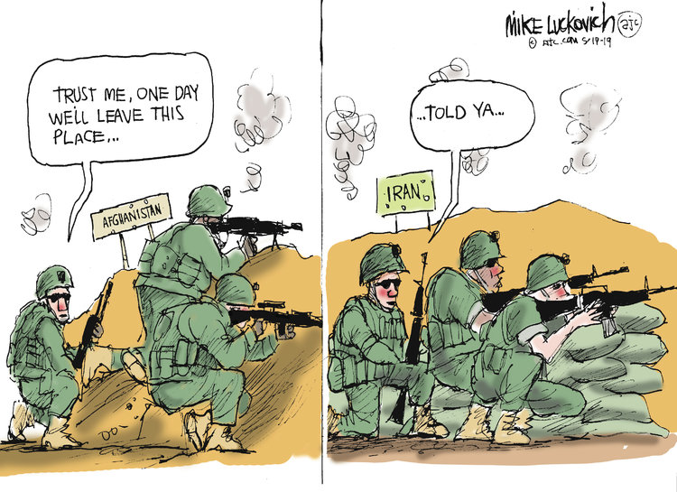 Frame One:  American soldier in Afghanistan to his fellows:  Trust me, One day we'll leave this place.  Frame Two:  Same soldier, now in Iran, to his fellows:  Told ya.