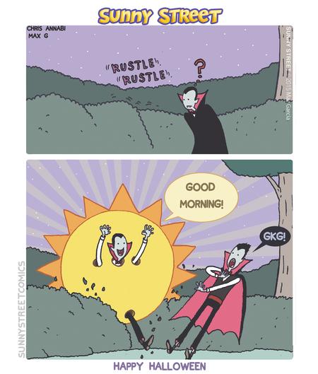 """Rustle"" ""Rustle""  Vampire Sun: Good Morning!  Vampire: GKG!  Happy Halloween"