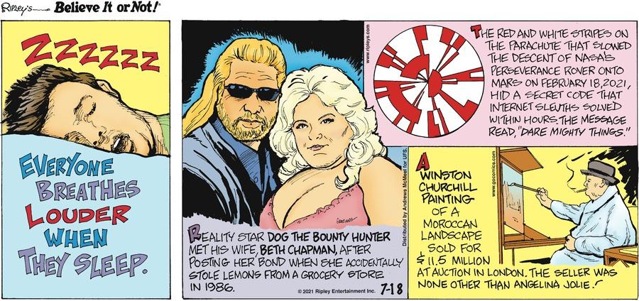 Ripley's Believe It or Not Comic Strip for July 18, 2021
