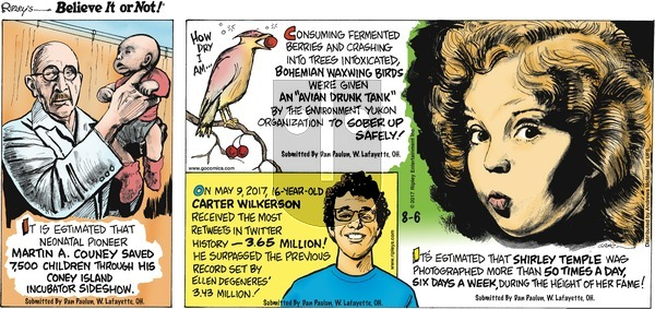 Ripley's Believe It or Not on Sunday August 6, 2017 Comic Strip