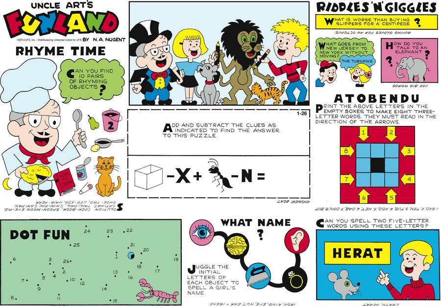 Uncle Art's Funland for Jan 26, 2014 Comic Strip