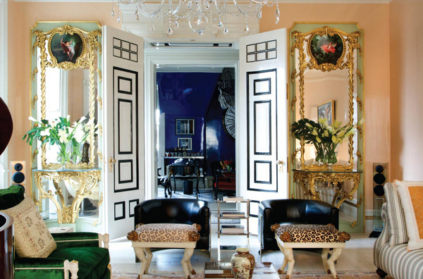 First time out, boom! Bikoff's biggest design break came from her mother, who trusted her with the interiors of her Dakota apartment. Grand scale, 13-foot ceilings, Bikoff layered antiques like the 18th-century French trumeau mirrors suited to the high ceilings. Black leather Milo Baughman chairs are paired with quirky T.H. Robsjohn Gibbings stools covered in an animal print. All are set in an envelope of mostly peach pastels, balanced by Bikoff's version of Yves Klein-style blue for richness.