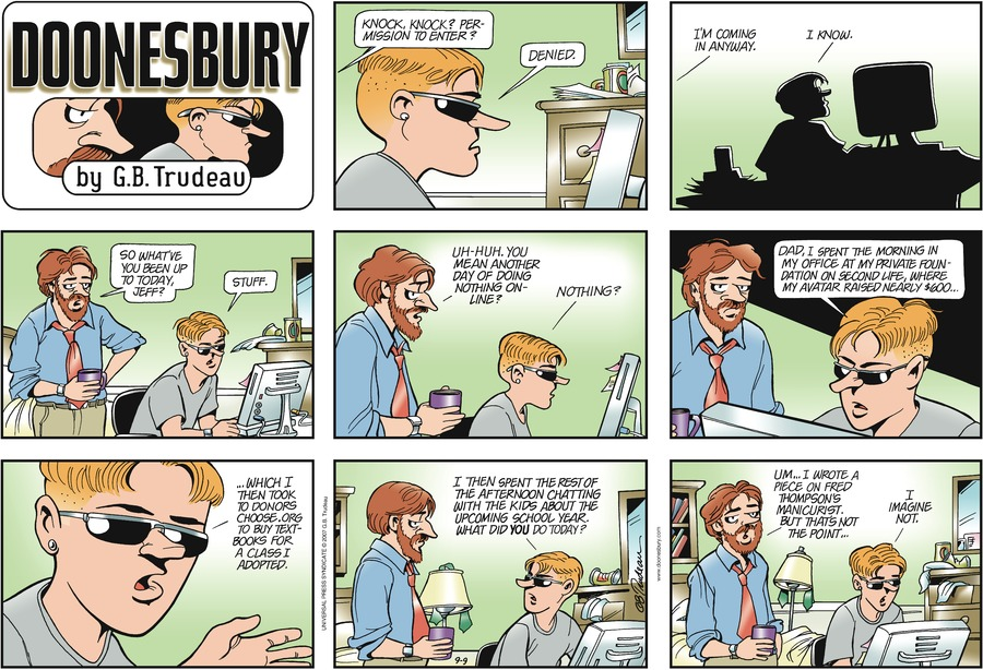 Doonesbury Comic Strip for September 09, 2007
