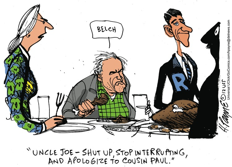 Uncle Joe- Shut up, stop interrupting and apologize to cousin Paul.