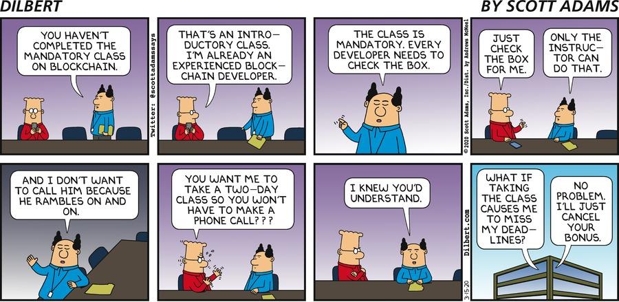 Mandatory Blockchain Class - Dilbert by Scott Adams