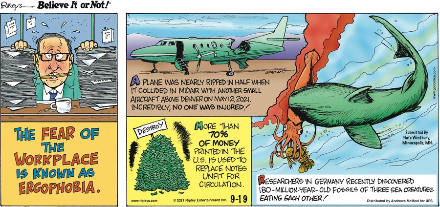 Ripley's Believe It or Not Comic Strip for September 19, 2021