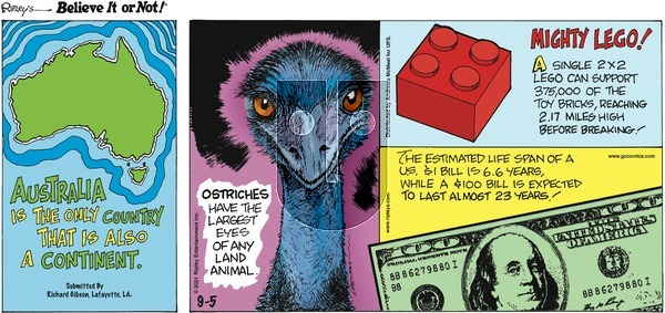 Ripley's Believe It or Not on Sunday September 5, 2021 Comic Strip