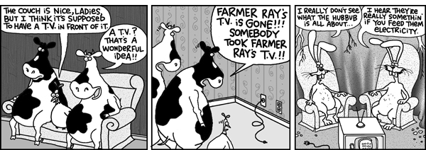 Chicken: The couch is nice, ladies, but I think it's supposed to have a TV in front of it.