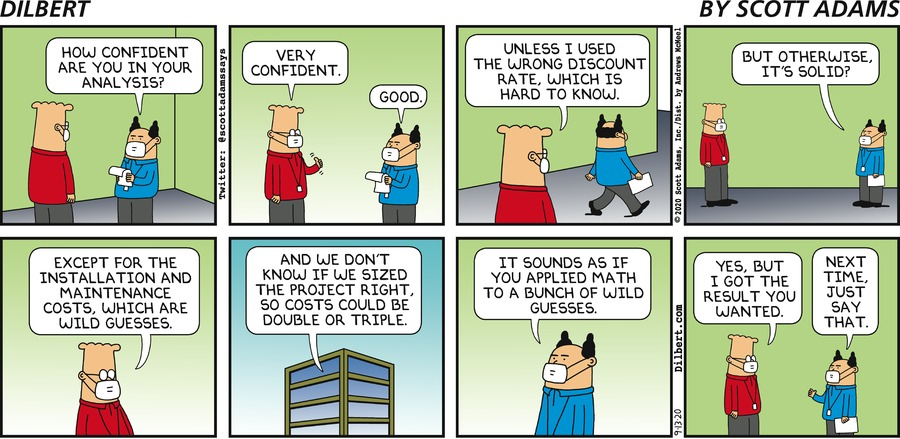 Applying Math To Guesses - Dilbert by Scott Adams