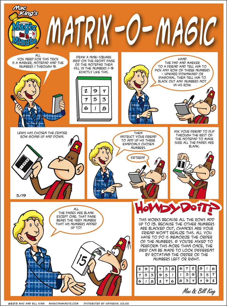 Magic in a Minute for May 19, 2013 Comic Strip