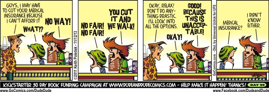 Dude and Dude for Nov 12, 2013 Comic Strip