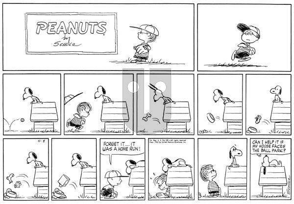 Peanuts on Sunday April 8, 1962 Comic Strip