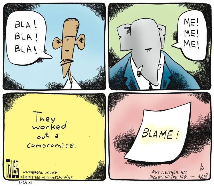 Barack Obama: Bla! Bla! Bla! Elephant: Me! Me! Me! They worked out a compromise.