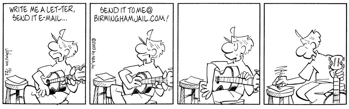 """Write me a let-ter, send it in e-mail..."" ""Send it to me@birminghamjail.com!"""