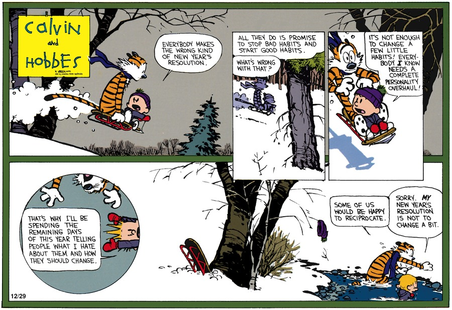 Calvin and Hobbes Comic Strip for December 27, 1992