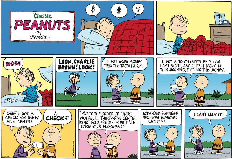 Peanuts Comic Strip for October 17, 2010