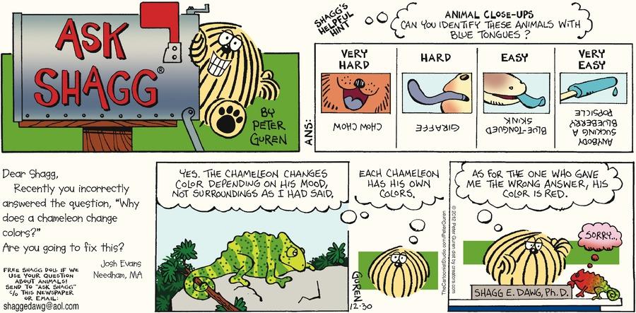 Ask Shagg for Dec 30, 2012 Comic Strip