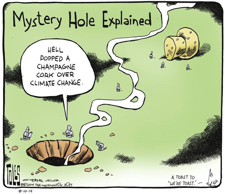Man: Hell popped a Champagne cork over climate change. Mystery Hole Explained