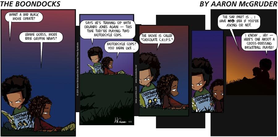 The Boondocks Comic Strip for June 03, 2001
