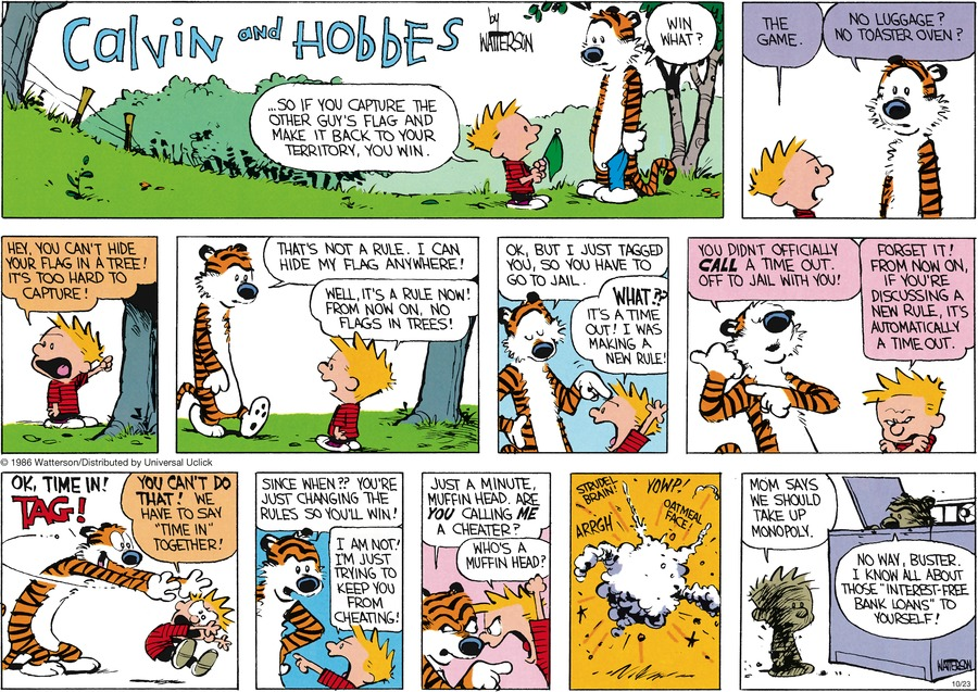 Calvin and Hobbes Comic Strip for October 23, 2016