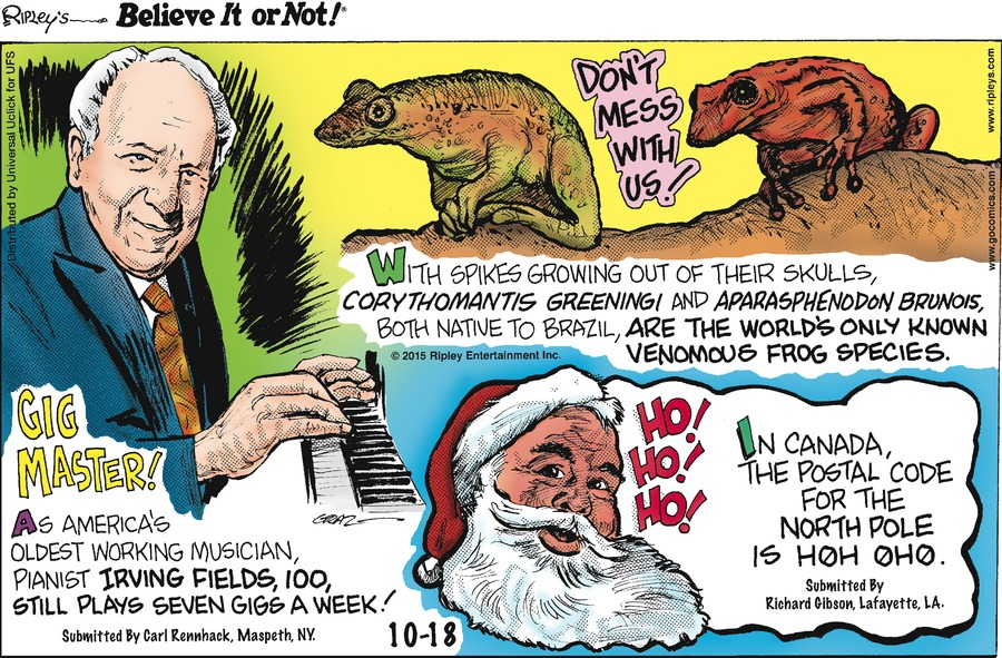 Ripley's Believe It or Not Comic Strip for October 18, 2015
