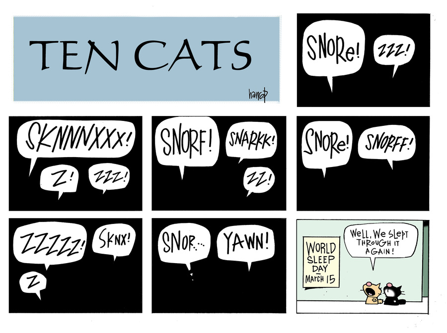 Ten Cats by Graham Harrop for March 17, 2019