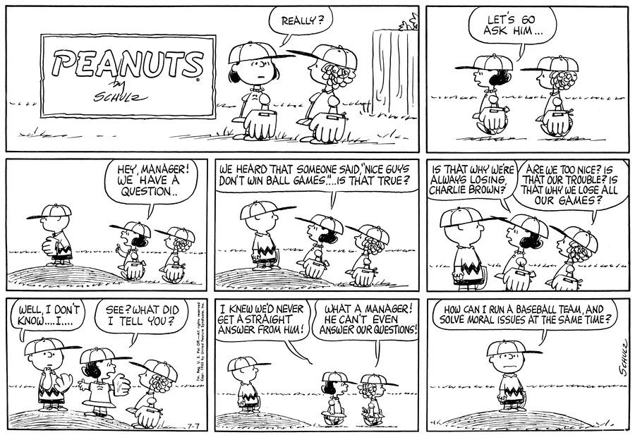 Peanuts Comic Strip for July 07, 1963