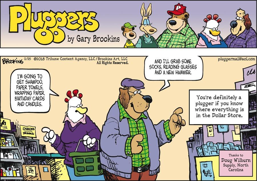 Pluggers for Feb 25, 2018 Comic Strip