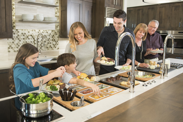 With a workstation that looks like it belongs in a commercial kitchen and is most often installed on an island, The Galley really gets cooking at home. The concept is that prep work, serving, entertaining and cleanup can all be performed over and in the sink.