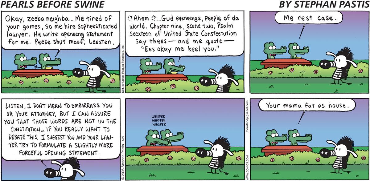 Pearls Before Swine Comic Strip for June 05, 2005