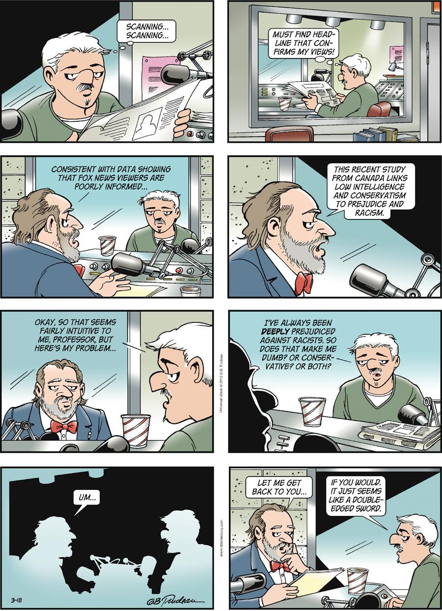 Doonesbury Comic Strip for March 18, 2012